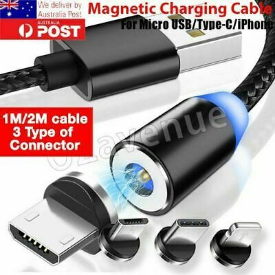 AU6.35 • Buy AU 360° Round Magnetic Charger Adapter IOS/Micro USB/Type-C Fast Charging Cable
