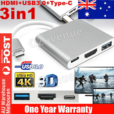 AU11.85 • Buy USB 3.1 Type-C To 4k HD HDMI USB 3.0 HUB USB-C 3IN1 Charging Port Adapter Cable
