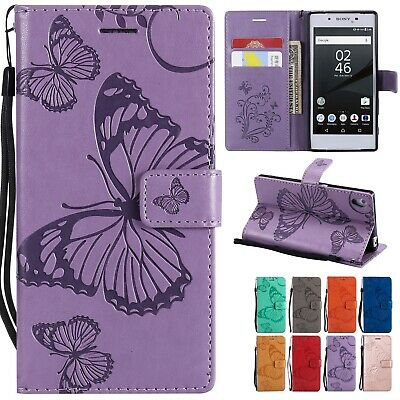 $ CDN11.35 • Buy For Sony Xperia Phone Flip Wallet 3D Butterfly Leather Case Cover Wrist Strap