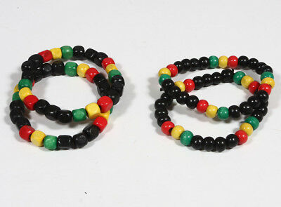 $2.99 • Buy 2pcs Fashion Rasta Reggae Wood Bead Bracelet Elastic 2pc,6pc,10pc