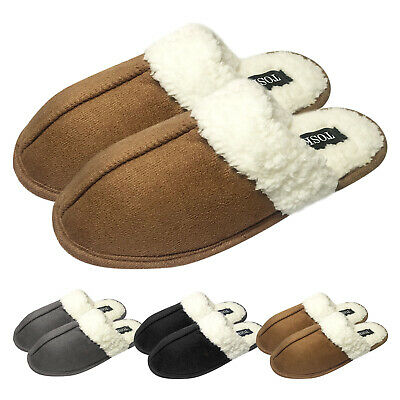 Ladies Mens Warm Faux Suede Soft Sherpa Fleece Fur Lined Slip On Mules Slippers • 5.99£