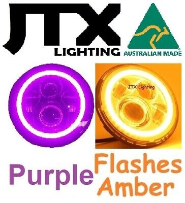 AU375 • Buy 1pr 7  JTX LED Headlights PURPLE Ford Bronco F100 F150 F250 F350 Pick Up Lights