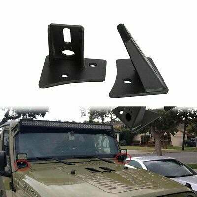 AU35.05 • Buy 2pcs A-Pillar LED Light Windscreen Mount Bracket Fits Jeep Wrangler JK 2007-2018