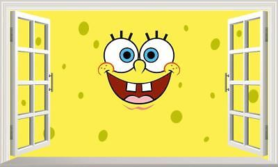 SpongeBob SquarePants 3D Magic Window Wall Art Sticker Self Adhesive Vinyl V5* • 16.50£