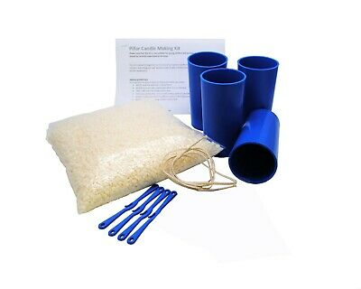 Beginner Four Mould Pillar Candle Making Kit, KeraSoy Pillar Wax, Wick. S7794 • 17.99£