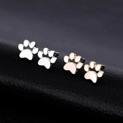£4.90 • Buy Paw Print Cat Dog Earrings  Pushback Stud Silver  Or Gold Colour