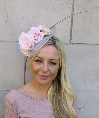 Blush Light Pink Grey Flower Feather Sinamay Disc Saucer Hat Fascinator 5925 • 34.95£