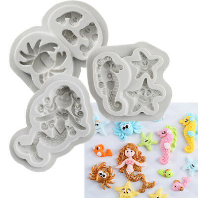 £3.59 • Buy 3D Beach Sea Shells Silicone DIY Cake Mould Decoration Tools Fondant Icing Tray