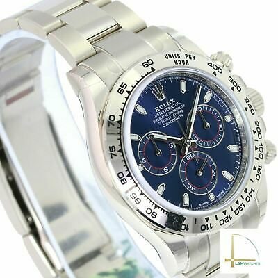 $ CDN57346.76 • Buy Rolex Daytona 116509 18K Solid White Gold Blue Dial Mens Watch - UNWORN