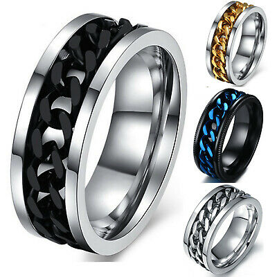 $8.96 • Buy Men's Anxiety Spinner Ring Stainless Steel Curb Chain Wedding Band, Comfort Fit