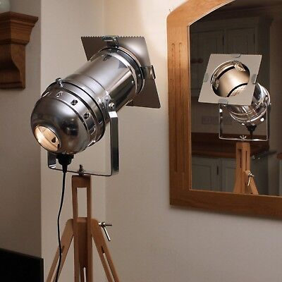Retro Chic Floor Lamp - Long Theatre Stage Spotlight And Wooden Tripod • 69£