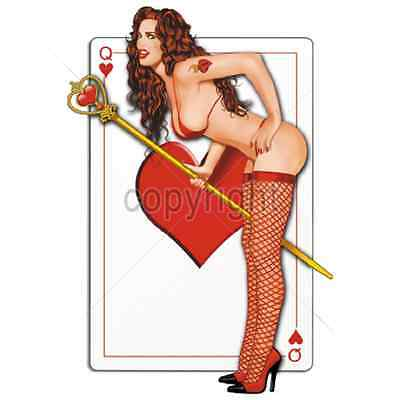 Pinup Girl Card Sexy Queen Of Hearts T-Shirt  All Sizes New (805) • 11.97£
