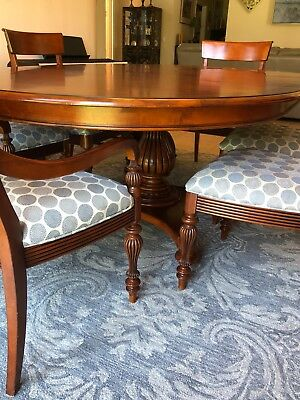 Ethan Allen Pedestal Dining Table With 6 Chairs And Top Protector Cover 1 300 00