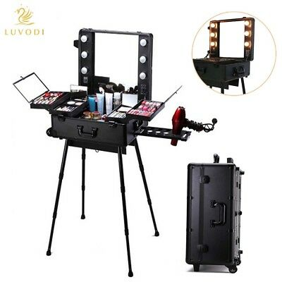 $199.92 • Buy Lockable Pro Professional Rolling Studio Makeup Cosmetic Train Case Lighted Key