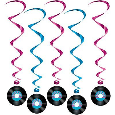 Rock And Roll Records 50s Whirls Hanging Ceiling Party Decorations 5 Pc O 399
