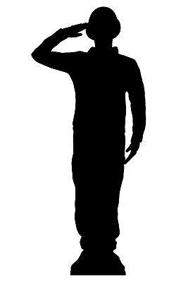 £30.49 • Buy Saluting Wartime Soldier Silhouette Lifesize Cardboard Cutout / Standee