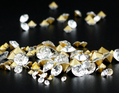 Point Back Round Crystals Gems Stones Foiled Glass Chatons Diamante Rhinestone • 2.49£