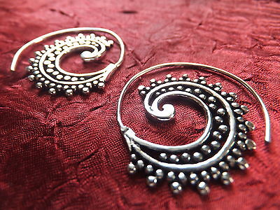 £7.99 • Buy Silver Plated Small Spiral Earrings - Boho, Ethnic, Tribal, Festival,ladies Gift