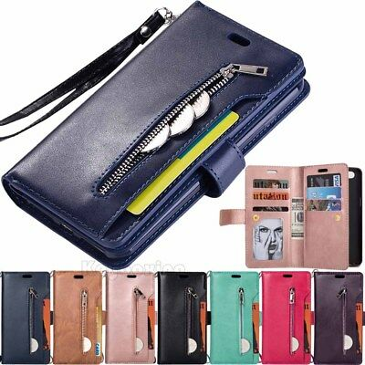 AU12.32 • Buy For OnePlus 5T Samsung J3 J7 2018 Zipper Wallet Card Holder Leather Case Cover