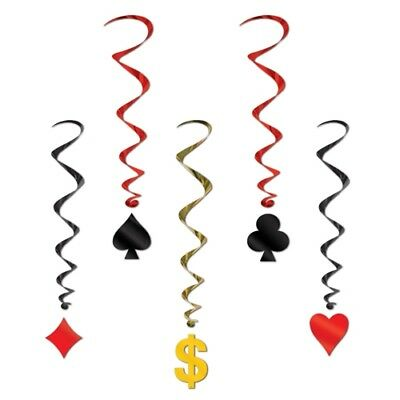 $2.99 • Buy Casino Card Suit Whirls Poker Night Vegas Party Hanging Birthday Decorations 5pc