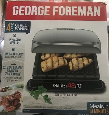 George Foreman 4-Serving Removable Plate Grill And Panini Press, Red, GRP360R • 29.90£