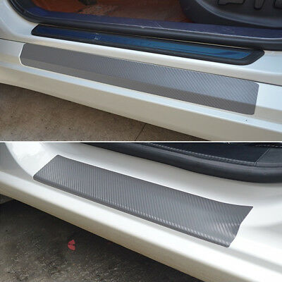 $ CDN3.34 • Buy 4Pcs New Car Door Sill Scuff Carbon Fiber Stickers Welcome Pedal Protect Parts