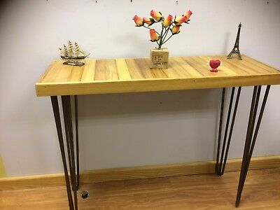 Hallway Table Occasione Iroko Exotic  African Wood Handmade Hairpin Legs • 135£