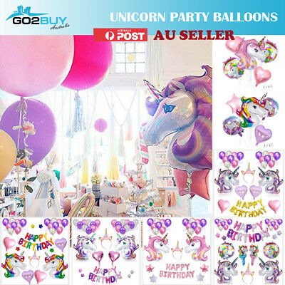 AU17.56 • Buy Unicorn Fantasy Horse Kids Birthday Party Supplies Balloons Set Decoration Girl