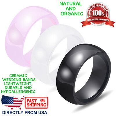 $9.94 • Buy Ceramic Wedding Band Womens Mens Durable Hypoallergenic 8mm Comfort Fit Ring