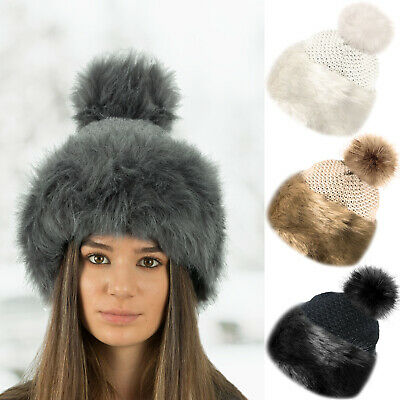 Faux Fur Trim Knitted Pom Pom Beanie Bobble Hat With Soft Cosy Fleece Lining • 7.99£