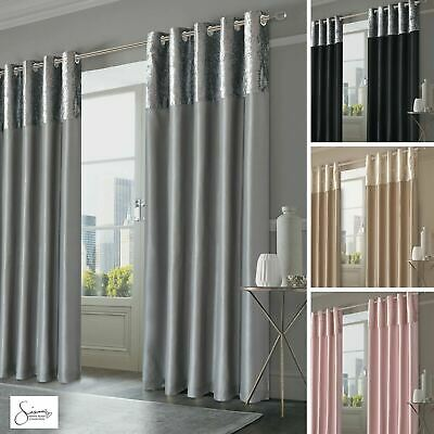 Sienna Crushed Velvet Band Curtains PAIR Eyelet Faux Silk Fully Lined Ring Top • 21.99£