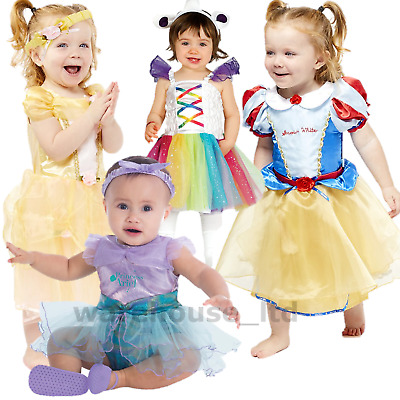 Deluxe Disney Princess Costume Girl Fairytale Fancy Dress Up Outfit Baby Toddler • 10.48£