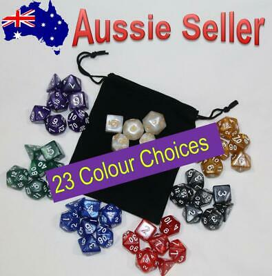 AU8.97 • Buy 7 Piece Pearl Dnd Dice Set And Bag. Polyhedral Dice For Dungeons & Dragons RPG