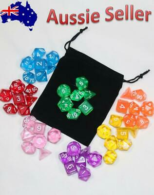 AU8.97 • Buy 7 Piece Gem Dnd Dice Set With Bag. Polyhedral Dice For Dungeons & Dragons RPG