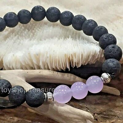 AU14.95 • Buy Aromatherapy Diffuser Essential Oil Lava And Purple Jade Bracelet