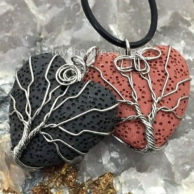 AU15.95 • Buy Aromatherapy Diffuser Essential Oil Lava Tree Of Life Necklace Healing Leather