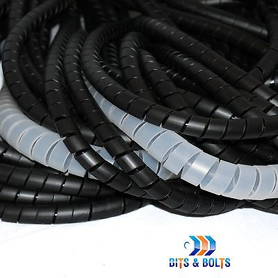 Black & Natural Spiral Cable Wrap/Tidy/Hide/Banding/Loom PC,TV,Home Cinema,Wire • 3.09£