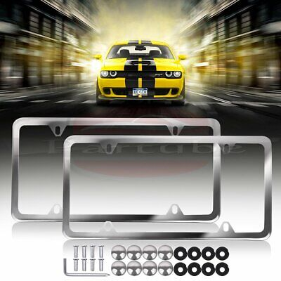 $8.69 • Buy 2pcs Silver Stainless Steel License Plate Frame Cover Front & Rear Kit Universal