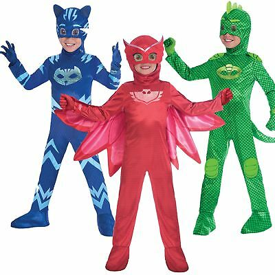 Boys Girls Deluxe PJ Masks Costume Childrens Superhero Fancy Dress Outfit • 19.48£