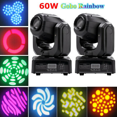 2PCS 60W RGBW Spot LED Moving Head Stage Light DMX Disco DJ Party Gobos Lighting • 126.19£