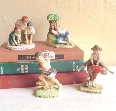 $ CDN32.87 • Buy Norman Rockwell Figurines Vintage Ceramic Collection Lot Of 4 Americana Vtg