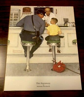 $ CDN19.99 • Buy NORMAN ROCKWELL THE RUNAWAY Plaque Mounted Print Wood Vintage Soda-shop Police