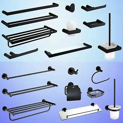 AU30 • Buy Round Towel Rail Rack Toilet Paper Roll Holder Tissue Robe Hook Black Accessory