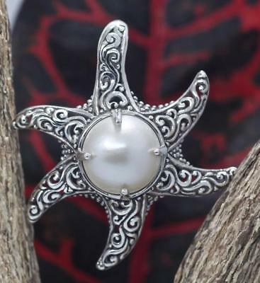 $35.80 • Buy Handmade Sterling Silver .925 Bali Starfish Pendant. Cz White Or Blue Mabe Pearl