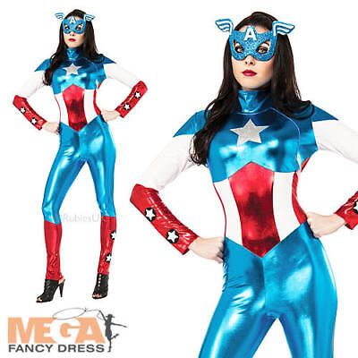 £31.99 • Buy Miss American Dream + Mask Ladies Fancy Dress Captain America Womens Costume New