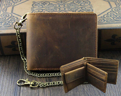 Mens Wallet With Chain Leather Brown Biker VINTAGE Coin Card Holder • 17.99£