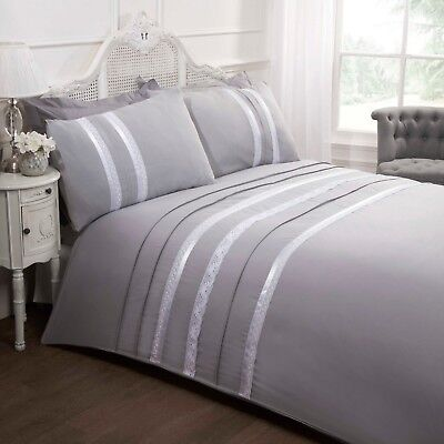 Rapport Annabella Embroidered Lace Ribbon Trim Duvet Cover Bedding Set Grey • 22.89£
