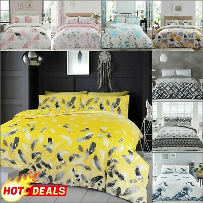 DUVET COVER SET Quilt Pillow Cases Reversible Soft Bedding Grey Double King Size • 11.49£