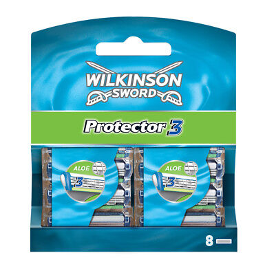 Wilkinson Sword Protector 3 Razor Blades 8 Pack Mens Shaving Genuine • 6.95£