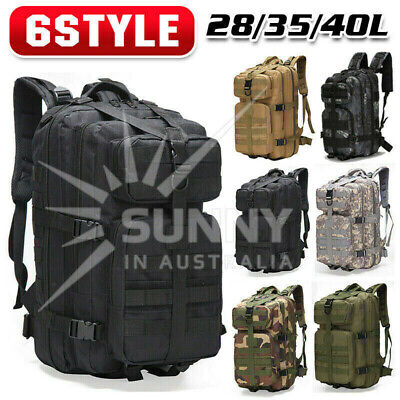 AU27.99 • Buy 28L Outdoor Hiking Camping Bag Army Military Tactical Rucksack Backpack Trekking